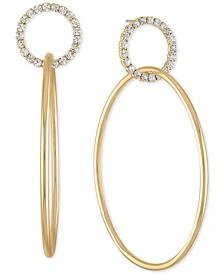 Gold-Tone Pavé Double-Hoop Drop Earrings