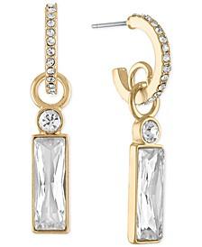 Gold-Tone Crystal Baguette-Charm Huggie Hoop Earrings