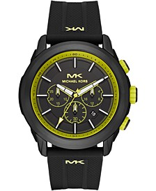 Men's Chronograph Kyle Black Silicone Strap Watch 48mm