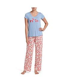 Women's Printed 2 Pc Pajama Set