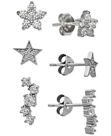 3-Pc. Set Cubic Zirconia Stud Earrings in Sterling Silver, Created for Macy's