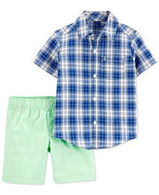 Toddler Boys 2-Pc. Cotton Plaid Shirt & Solid Shorts Set