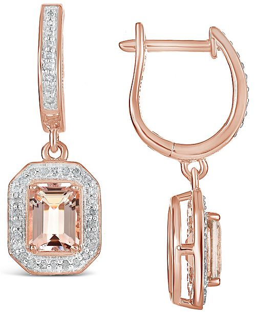 Macy's Morganite (1-3/4 ct. t.w.) and Diamond (1/3 ct. t.w.) Drop Earrings in 14K Rose Gold-Plated Sterling Silver