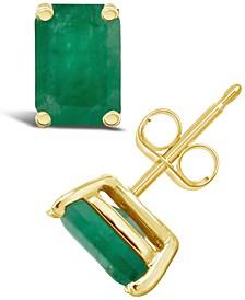 Emerald (1-1/8 ct. t.w.) Stud Earrings in 14k Yellow Gold