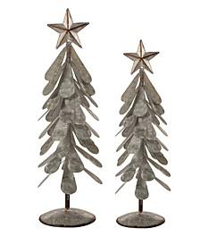Galvanized Metal Christmas Table Tree Decor Set of 2