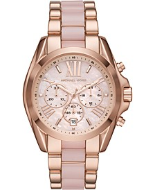Women's Bradshaw Chronograph Rose Gold-Tone Stainless Steel & Blush Acetate Bracelet Watch 43mm