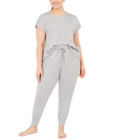 Plus Size Lace-Up Detail Pajama Set, Created For Macy's