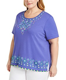 Plus Size Costa Rica Patterned Top