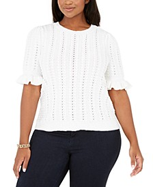 INC Plus Size Ruffle-Sleeve Pointelle Sweater, Created for Macy's