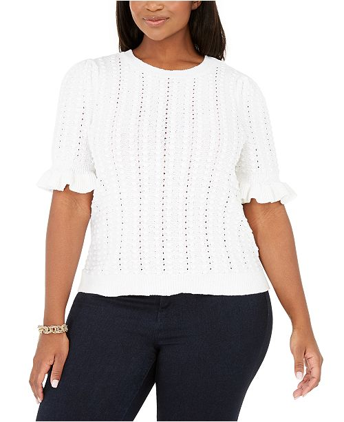 INC International Concepts INC Plus Size Ruffle-Sleeve Pointelle Sweater, Created for Macy's