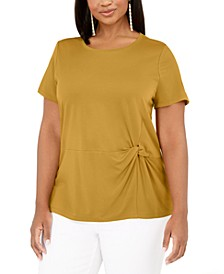 INC Plus Size Knot-Side T-Shirt, Created for Macy's