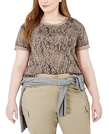 Trendy Plus Size Python-Print Top