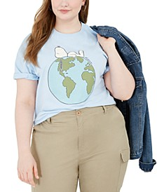 Trendy Plus Size Snoopy Earth Cotton Graphic T-Shirt