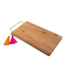 CLOSEOUT! Mango Wood Serve Board with Brass Handle & Tassels