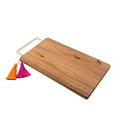 Mango Wood Serve Board with Brass Handle & Tassels