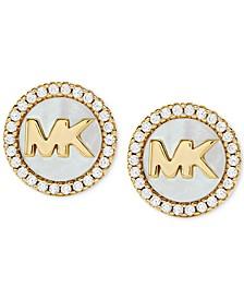 Sterling Silver Cubic Zirconia & Mother-of-Pearl Logo Stud Earrings