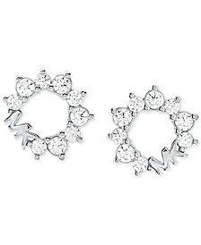 Sterling Silver Cubic Zirconia & Logo Stud Earrings