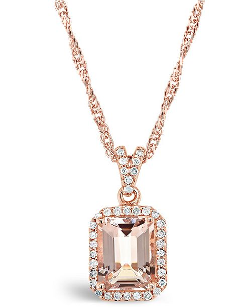 Macy's Morganite (2 ct. t.w.) and Diamond (1/6 ct. t.w.) Pendant Necklace in 14K Rose Gold-Plated Sterling Silver