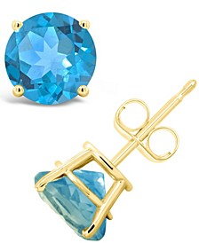 Swiss Blue Topaz (3-1/10 ct. t.w.) Stud Earrings in 14K Yellow Gold. Also Available in Garnet, Amethyst; Peridot and Citrine
