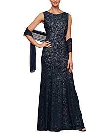 Sequined Lace Gown & Shawl