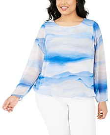 Plus Size Printed Bubble Top, Created for Macy's
