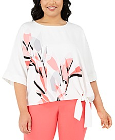 Plus Size Printed Side-Tie Top, Created for Macy's