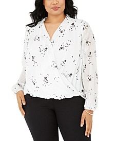 Plus Size Printed Surplice Top, Created for Macy's