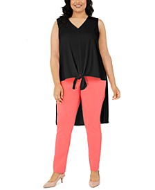 Plus Size Sleeveless Tie-Hem High-Low Top, Created for Macy's