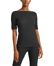 Petite Polka-Dot Elbow-Sleeve Top