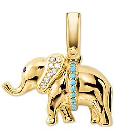 14k Gold-Plated Pavé & Stone Elephant Charm