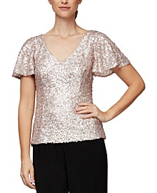 Sequined V-Neck Blouse