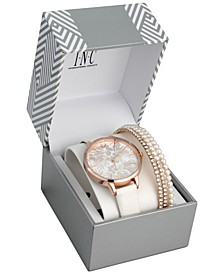 INC Women's White Faux Leather Strap Watch 38mm Gift Set, Created for Macy's