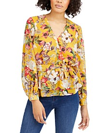 INC Petite Floral-Print Wrap Top, Created for Macy's