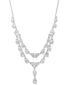 """Cubic Zirconia Double Layer Statement Necklace, 15"""" + 2"""" extender, Created for Macy's"""