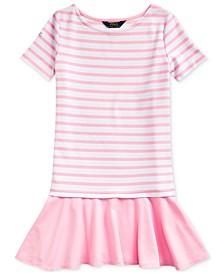 폴로 랄프로렌 Polo Ralph Lauren Big Girls Striped Stretch Ponte Dress,White-카멜 Carmel Pink
