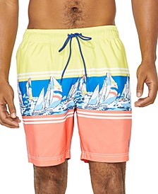 "Men's Engineered Boat Stripe 8"" Swim Trunks, Created for Macy's"