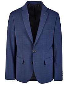 Big Boys Classic-Fit Stretch Navy Blue Check Suit Jacket