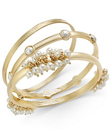 INC Gold-Tone 3-Pc. Set Shaky Imitation Pearl Bangle Bracelets, Created for Macy's