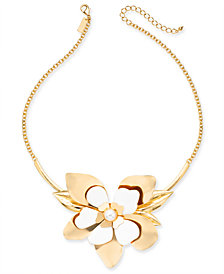 """INC Gold-Tone Large White Flower & Imitation Pearl Collar Necklace, 18"""" + 3"""" extender, Created for Macy's"""