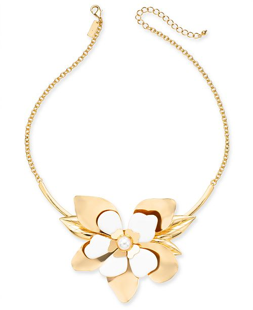 """INC International Concepts INC Gold-Tone Large White Flower & Imitation Pearl Collar Necklace, 18"""" + 3"""" extender, Created for Macy's"""
