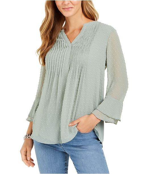 Charter Club Double-Ruffle Textured Pintuck Top, Created for Macy's