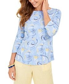Paisley-Print 3/4-Sleeve Top, Created for Macy's