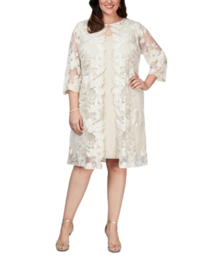 60s 70s Plus Size Dresses, Clothing, Costumes Alex Evenings Plus Size Layered-Look Embroidered Jacket Dress $174.99 AT vintagedancer.com
