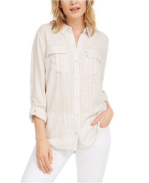 Charter Club Petite Striped Utility Shirt, Created for Macy's