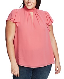 Plus Size Smocked Flutter-Sleeve Top