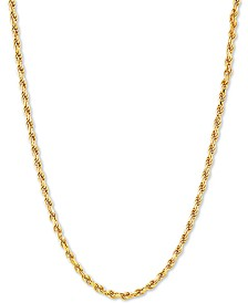 "Rope Link 22"" Chain Necklace in 18k Gold-Plated Sterling Silver"
