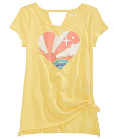 Big Girls Side Tie Heart Sunset T-Shirt, Created For Macy's