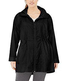 Ideology Plus Size Hooded Longline Rain Jacket, Created for Macy's