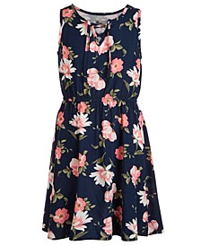 Big Girls Floral-Print Lace-Up Dress, Created for Macy's