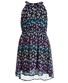 Big Girls Butterfly-Print High-Neck Dress, Created for Macy's
